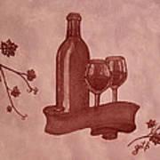 Enjoying Red Wine  Painting With Red Wine Art Print by Georgeta  Blanaru