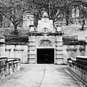 entrance bridge and ornate tunnel to Glasgow necropolis cemetery Scotland UK Art Print