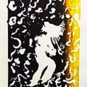 Erotic Scapegoat From Azazel Hell Satan Devil In Purple And Yellow Serigraph Swirls Holding Breasts Art Print