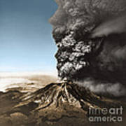 Eruption Of Mount St. Helens Art Print