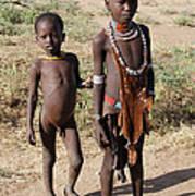 Ethiopia-south Tribesman Boy And Sister No.1 Art Print