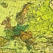 Europe Map Of 1911 Art Print