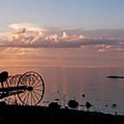 Evening Bell. Sunset On Valaam Island. Northern Russia Art Print
