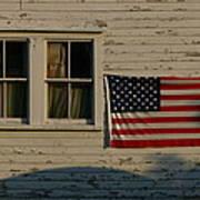 Evening Light On An American Flag Art Print