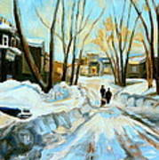 Evening Winter Walk Streets Of Montreal After The Snowstorm Art Print