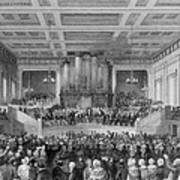 Exeter Hall Filled With A Large Crowd Art Print by Everett