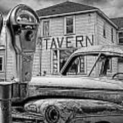 Expired A Black And White Photograph Of A Tavern Parking Meters And Vintage Junk Auto Art Print