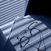 Eye Glasses Book And Venetian Blind In Blue Art Print