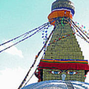 Eyes Of The Boudhanath Stupa  Nepal Art Print