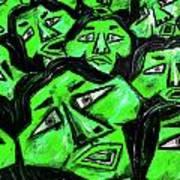 Faces - Green Art Print