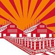 Factory Building Oil Drum Barrel Retro Art Print by Aloysius Patrimonio