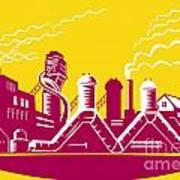 Factory Building Power Plant Retro Art Print by Aloysius Patrimonio
