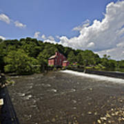 Faded Red Water Mill On The Dam Of The Raritan River Art Print