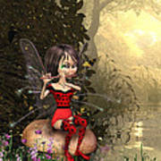 Forest Fairy Playing The Flute Art Print