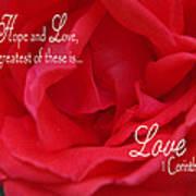 Faith Hope Love Rose Art Print