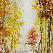 Fall Tree In Autumn Forest  Art Print