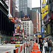 Amidst Color And Construction In Times Square Art Print