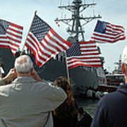 Family Members Wave Flags To Show Art Print