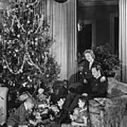 Family With Two Children (6-9) Sitting At Christmas Tree, (b&w) Art Print