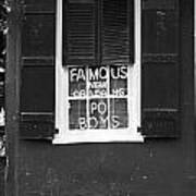 Famous New Orleans Po Boys Neon Window Sign Black And White Accented Edges Digital Art Art Print