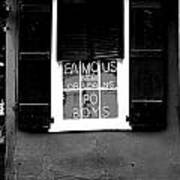 Famous New Orleans Po Boys Neon Window Sign Black And White Conte Crayon Digital Art Art Print