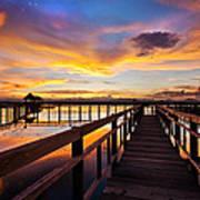 Fantastic Sky On Wood Bridge Art Print by Arthit Somsakul