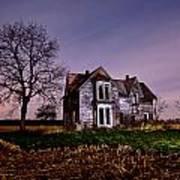 Farm House At Night Art Print