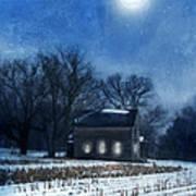 Farmhouse Under Full Moon In Winter Art Print
