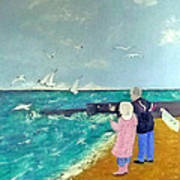 Feeding The Gulls Art Print by Peter Edward Green