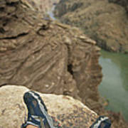 Feet Shod In River Shoes On An Overlook Art Print by Bobby Model