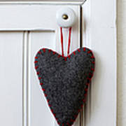 Felt Heart Shape Decoration Hanging On Handle Art Print
