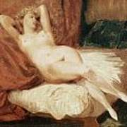 Female Nude Reclining On A Divan Art Print by Eugene Delacroix