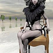 Femme Avec Chaise Art Print by Sandra Bauser Digital Art