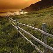 Fence And Sunset, Gooseberry Cove Art Print