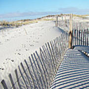 Fences Shadows And Sand Dunes Art Print