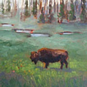 Ferdinand Yellowstone Np Art Print by Karin  Leonard