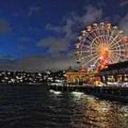 ferris wheel at night in Sydney Harbour Print by Jacques Van Niekerk