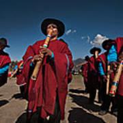 Festival De Danzas Tradicionales En La Poblacion De Copusquia. Republica De Bolivia. Art Print by Eric Bauer