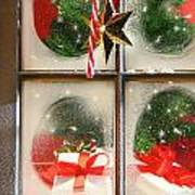 Festive Holiday Window Art Print by Sandra Cunningham