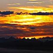 Fiery Sunrise Over The Cascade Mountains Art Print