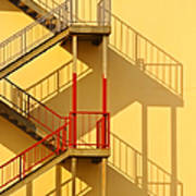 Fire Escape And Shadow Art Print by David Buffington