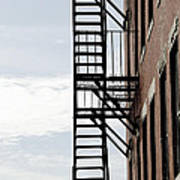 Fire Escape In Boston Art Print