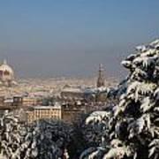 Firenze Under The Snow Art Print