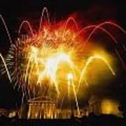 Fireworks At Philadelphia Museum Of Art Art Print