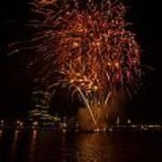 Fireworks On River Thames Art Print