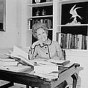First Lady Pat Nixon Working At A Small Art Print