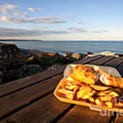Fish 'n' Chips By The Beach Art Print by Rob Hawkins
