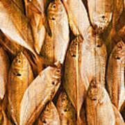 Fish Pattern On Wood Art Print