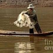 Fisherman Mekong 3 Art Print