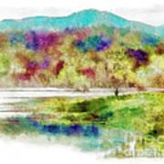 Fishing - Watson Lake Art Print by Arne Hansen